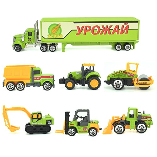 Jellydog Toy Construction Trucks , Construction Vehicles Set,Metal Die Cast Toy Set,Dumper,Bulldozers,Forklift,Tank Truck,Asphalt Car and Excavator 6 Set ,1 Farm Truck ,Toy for ()