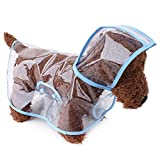 Topsung Waterproof Puppy Raincoat Blue Transparent Pet Rainwear Clothes for Small Dogs/Cats, Size S