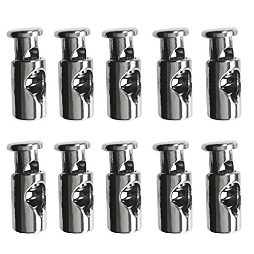 (MonkeyJack Pack of 10 Silver Alloy Metal Barrel Single Hole Cord Lock Toggles Stop Drawstring Cordlocks Stopper - Paracord / Elastic Cord Accessories )