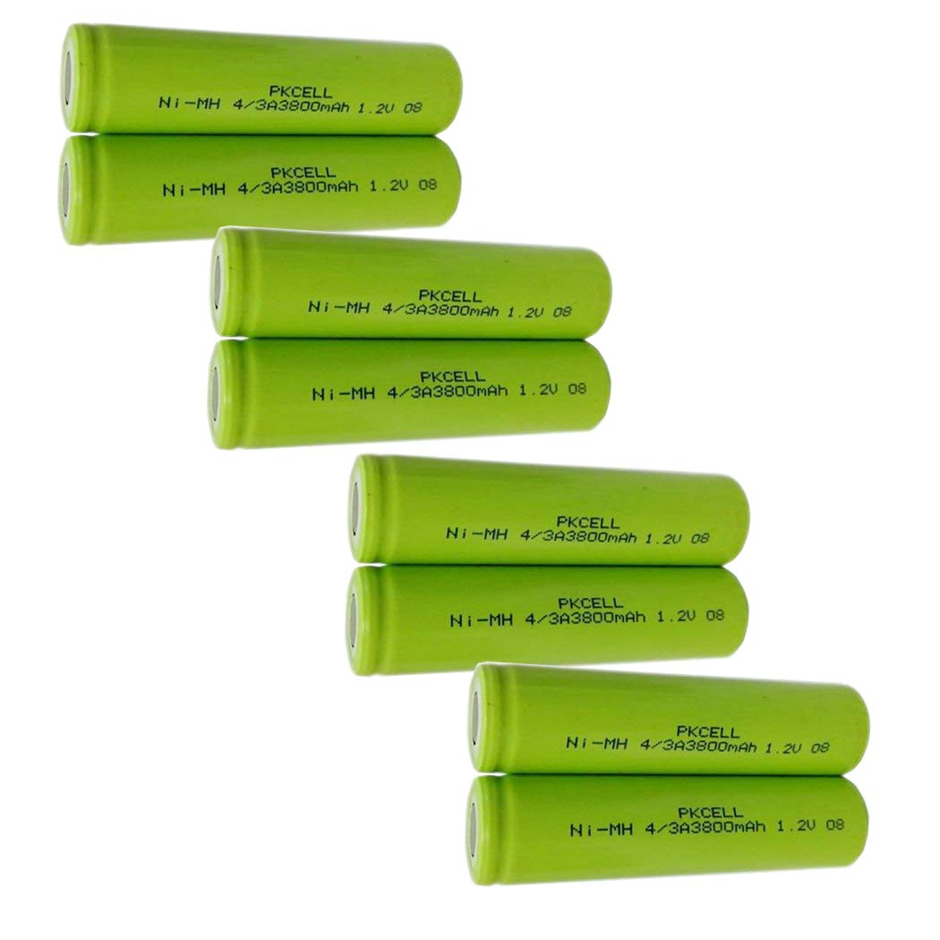 4/3A Size Rechargeable Battery 1.2V NIMH Battery 3800mAh Count :Pcs (8)