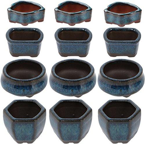 Happy Bonsai 12 Mini Glazed Pots / Small Succulent Plant Flower Planters