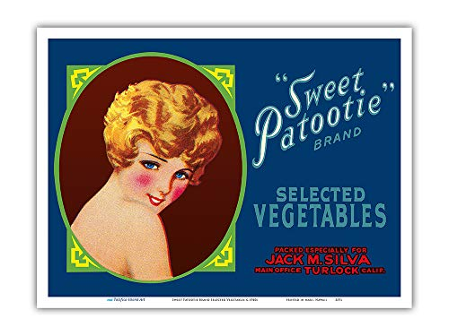 - Pacifica Island Art - Sweet Patootie Brand Selected Vegetables - Vintage Fruit Crate Label c.1940s - Master Art Print - 9in x 12in