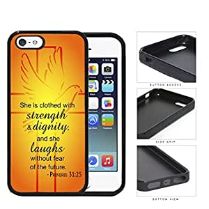 Proverbs 31:25 Bible Verse Orange & Yellow Background with Cross & Dove Overlay [iPhone 5 5s] Rubber Silicone TPU Cell Phone Case