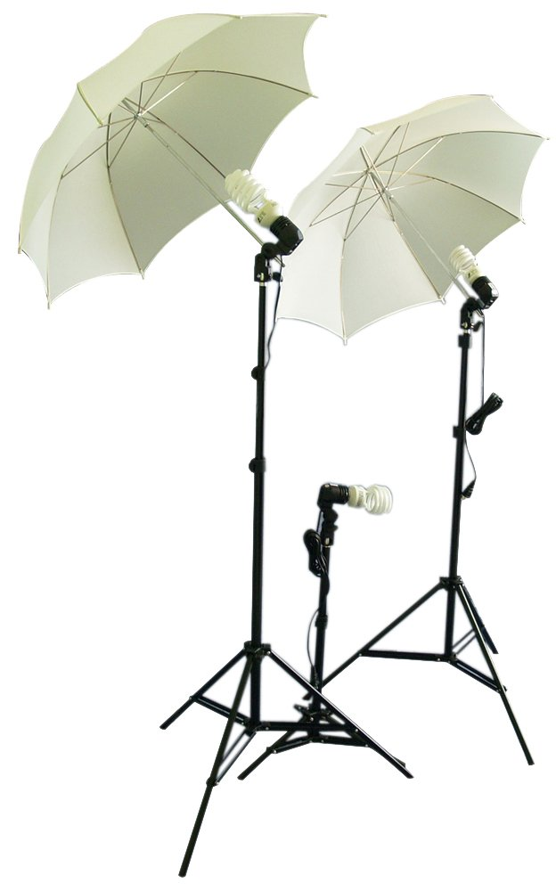 Cowboystudio Photography/Video Studio Umbrella Continuous Lighting Kit With Three Day Light CFL Bulbs & Two Diffuser Umbrellas For Product, Portrait, and Video Shooting Cowboy Studio Triplekit