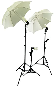 Cowboystudio Photography/Video Studio Umbrella Continuous Lighting Kit with Three Day Light CFL Bulbs &amp; Two Diffuser Umbrellas for Product, Portrait, and Video Shooting <span at amazon
