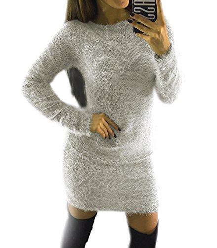 WOZNLOYE Otoño y Invierno Mujer Vestido de Suéter Casual Largo Pulóver Túnicas Moda Sherpa Manga Larga Jerséis Mini Vestido de Partido