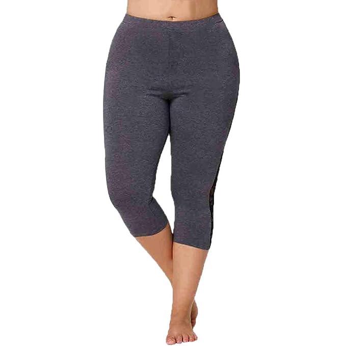 VPASS Mujer Pantalones,Talla Grande Mallas Mujer Fitness Elásticos Encaje Pantalones Moda Cortos Pantalones Gym Yoga Slim Fit Pants Leggings Cintura ...