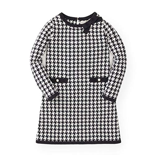 Hope & Henry Girls' Black and White Houndstooth Sweater Dress -