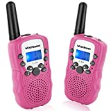 Wishouse Walkie Talkie Kids Toy Set, Best Gifts Easy use Two Way Radios for Girls, 22 Chanels 3 Miles Long range Cool Vox walky talky for camping hiking fishing outdoors(T388 Pink, 1 Pair)