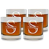 Customized Whiskey Glasses Set of 4 by Froolu EngravedScotch Nob Hill 10.25 oz. Rocks/Old Fashioned Glasses Anniv Gift