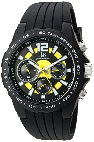 Joshua & Sons Multi-Function Double Layer Yellow Accented Dial with Matte Black Case and Matte Black Bezel on Matte Black Silicone Sport Strap Watch JX126BKYL (Accented Matte)