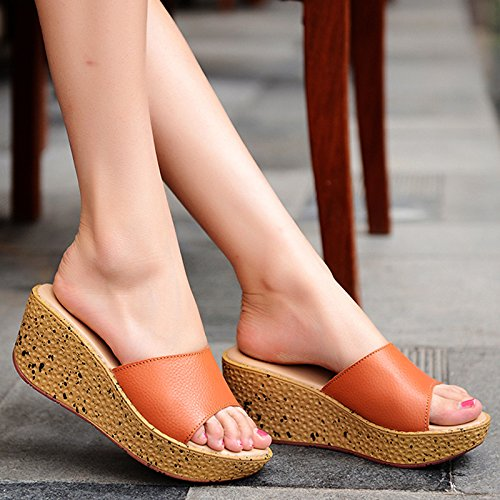 Outer Orange Word heel wear EU 5 Summer flops US 7 trailer High UK flip Thick bottom 5 Leatherette Slope AWXJX women's 38 CPzqx881