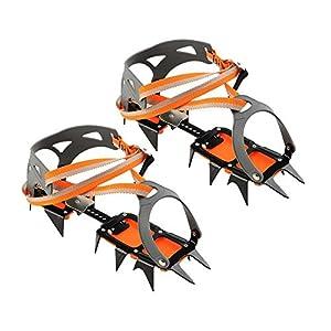Gracefulvara 1 Pair Bundled Crampons Professional 14 point Manganese Steel Ice Gripper Ice Crampons