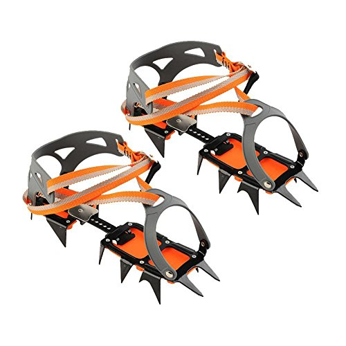 Gracefulvara 1 Pair Bundled Crampons Professional 14 point Manganese Steel Ice Gripper Ice Crampons by Gracefulvara