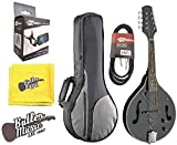 Stagg M50E/BK Black Acoustic/Electric 'A' Style Mandolin w/Padded Gig Bag & More