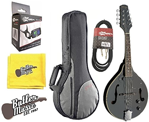 Stagg M50E/BK Black Acoustic/Electric 'A' Style Mandolin w/Padded Gig Bag & More by Stagg