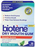 Biotene Dry Mouth Gum, Sugar Free Mint, 16-Count Packages (Pack of 12)