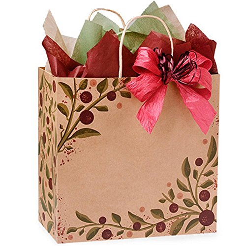 Tuscan Harvest Paper Shopping Bags - Filly Size - 13x7x13in. - Pack of 100 by NW