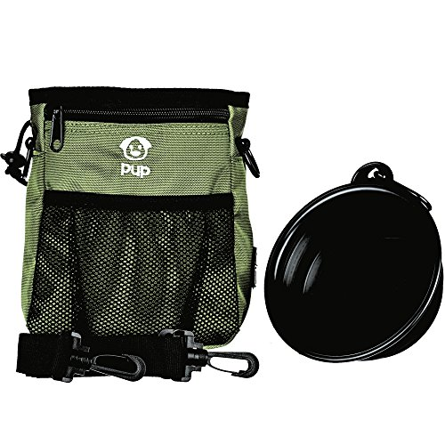 Pup Pouch Nookoo Large Dog Walking Training Treat Bag w/Collapsible Water Bowl - Built-in Waste Bag Dispenser - Carries Phone, Toys, Kibble, Treats - 3 Ways to Wear - Olive Green