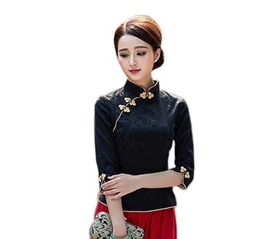 b930b689d19651 ACVIP Damen Retro Sieben Punkte Ärmel Kunst Schicke Süß Art Cheongsam Bluse:  Amazon.de: Bekleidung