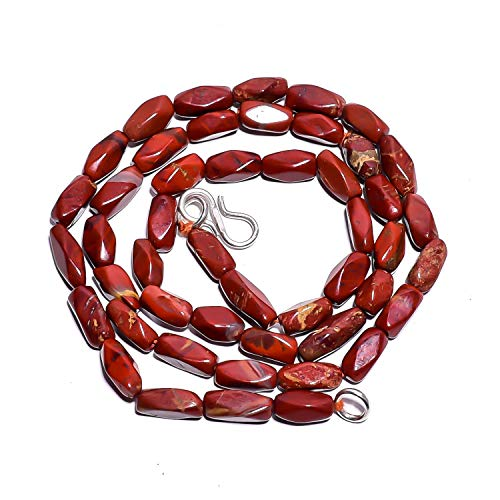 Beads Hub Natural Red Jasper Gemstone Fancy Tube Smooth Beads Necklace 17