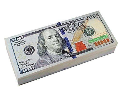 BEST REAL LOOKING PLAY MONEY, Real Color Double Sided, Smaller Size 4.8