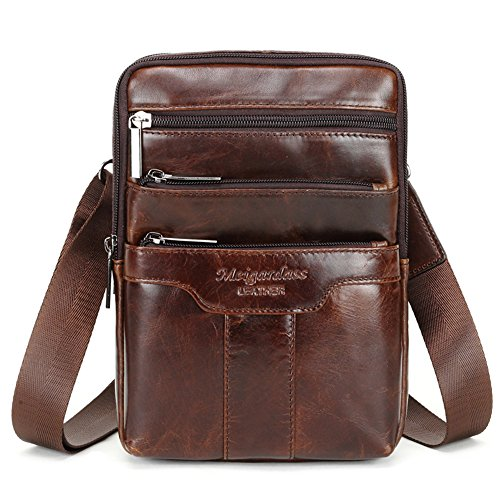 Cowhide Shoulder Bag - Langzu Men's Genuine Leather Cowhide Vintage Messenger Bag Shoulder Bag Crossbody Bag (Dark Brown)