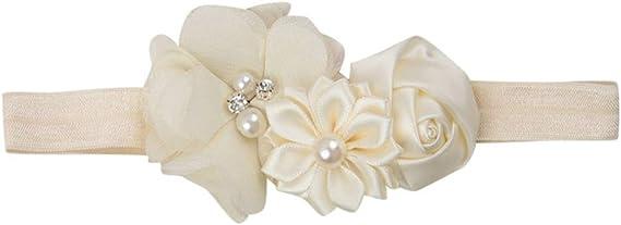 Stirnband Haarband Baby Haarschmuck Kopfband Weiß Taufe Photoshooting Blume Rosa