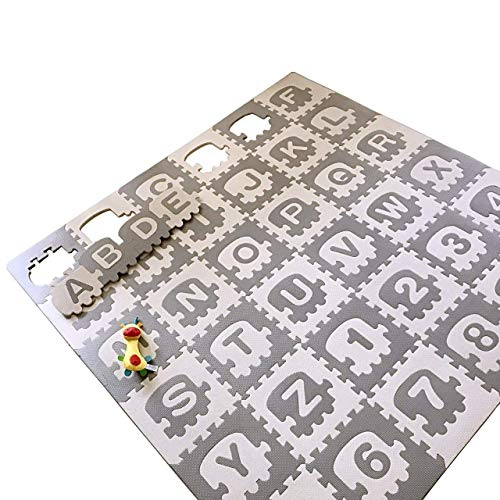 "Alphabet Mats (LACALA Children/Kids/Baby Puzzle Play Mat,36pcs White Grey,Train,Numbers,Letters/alphabets70.86 x 70.86"")"