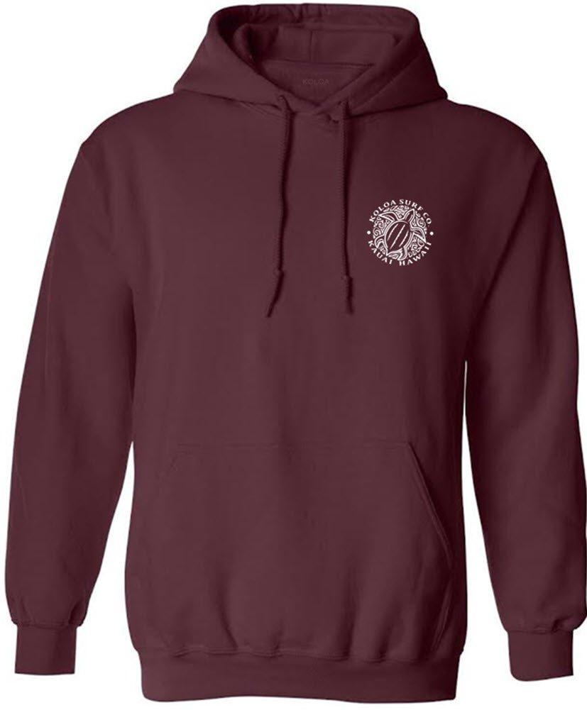 Joe's USA Koloa Surf Honu Turtle Logo Hoodie, Hooded Sweatshirt-L-Maroon/w by Joe's USA (Image #1)