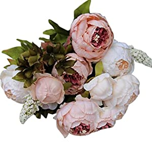 Iuhan 1Bouquet 8 Heads Artificial Peony Silk Flower Leaf Home Wedding Party Decor (Pink) 41