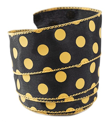 Polka Dots Mustard-colored on Black Satin Wired Ribbon #9 - 1.5
