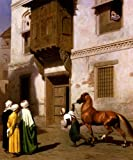 WONDERFULITEMS MERCHANT OF HORSES IN CAIRO ARABIAN HORSE ORIENTALIST PAINTING BY JEAN LEON GEROME 16'' X 20'' IMAGE SIZE REPRO CANVAS ROLLED UP