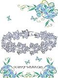 EVER-FAITH-Bridal-Silver-Tone-Butterfly-Zircon-Tennis-Bracelet