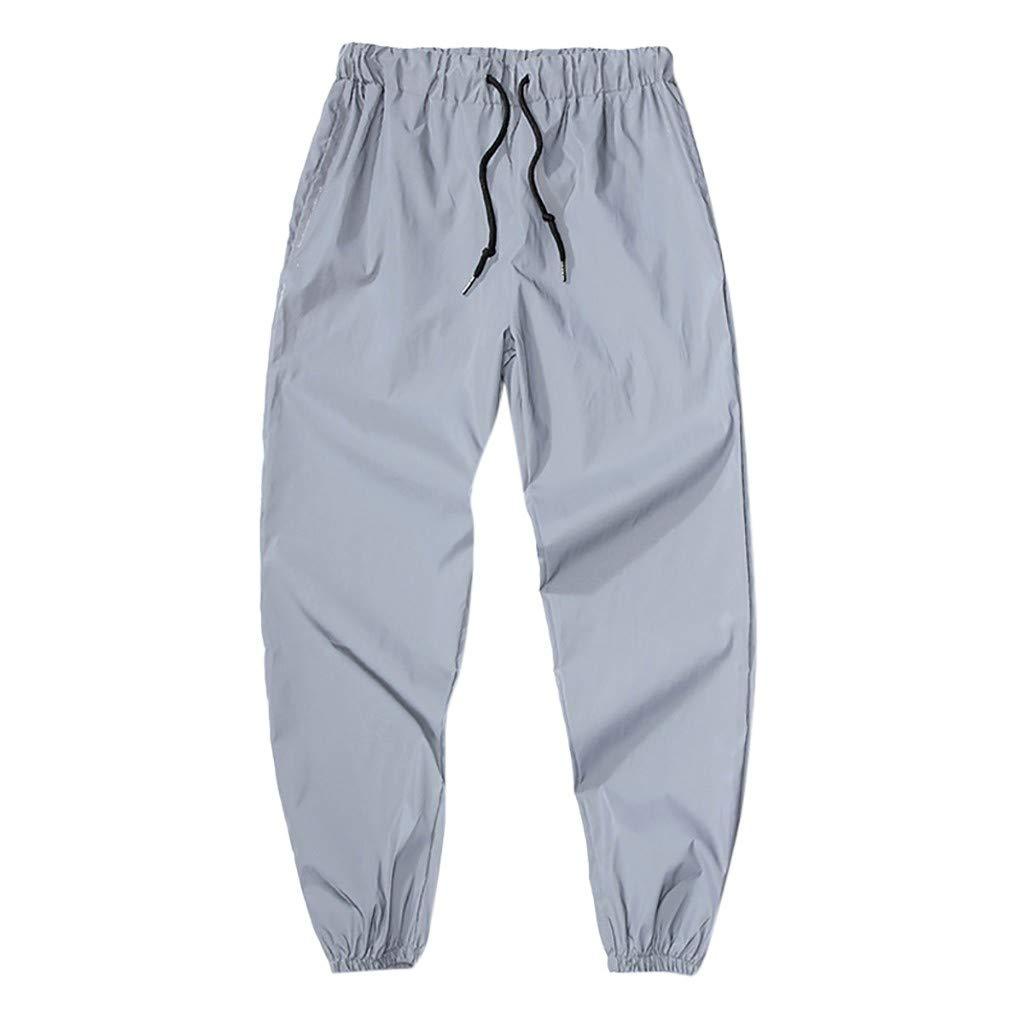 Pants Men Skinny Jeans Mens New Style Fashion Long Pants Drawstring Elastic Waist Sports Pants Gray L by XZDCDJ