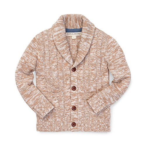Boys Knit Cardigan (Hope & Henry Boys' Shawl Collar Cardigan Cable Stitch Sweater Size 5)