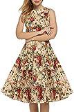 HIKA Women's Casual Sleeveless Flare Xmas Gifts Party Cocktail Dress (Medium, HIKA-Retro Rose)