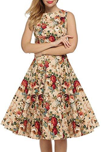 IMUYI Retro 1950 Floral Spring Garden Party Picknick Kleid Partei ...