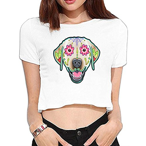 Women Labrador Retriever In Yellow   Day Of The Dead Lab Sugar Skull Dog Midriff T Shirt Funny Short Sleeve Crop Tops