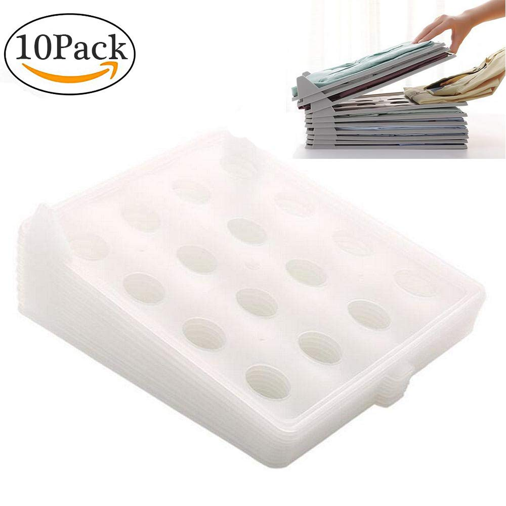LayOPO Clothes Folder Board Organizer Drawers Wardrobe Cabinets Shelves Dresser Suitcase 10Pack Stackable Clothing Dividers Organizer Trays T Shirt Folding Document Organizer For Clothes