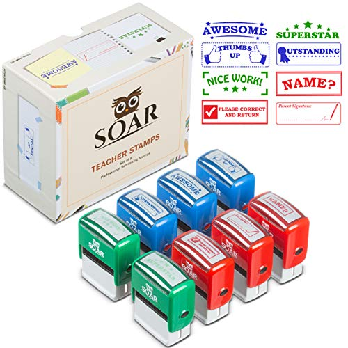 Teacher Stamp Set Colorful Self-Inking Stamps for School Classroom Homeschool Grading & Homework, Motivation, Recognition, Encouragement, Classroom Organization, Classroom Supplies, Teacher Gift -
