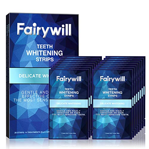 Fairywill Teeth Whitening Strips for Teeth Sensitive - Reduced Sensitivity White Strips for Teeth Whitening, Gentle and Safe for Enamel, Dental Teeth Whitening Kit Pack of 28 Whitener Strips