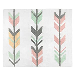 Sweet Jojo Designs Accent Floor Rug Bedroom Decor for Grey, Coral and Mint Woodland Arrow Girls Kids Bedding Collection