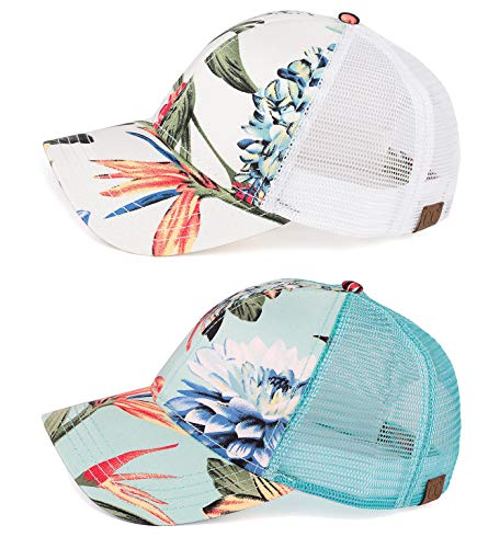 fd4c31f4f2a3f H-6140-2-852554 Trucker Hat 2-Pack Bundle  Floral Ivory   Mint