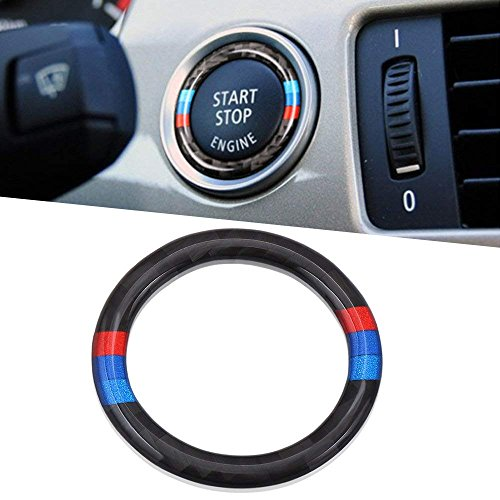 Thor-Ind Carbon Fiber Car Engine Start Stop Button Cover Trim Ring For BMW Old 3 Series E90 E92 E93 2005-2012 Ignition Button Cover Circle Stickers (Ignition Key Ring Sticker, (Bmw 3 Series Key Ring)