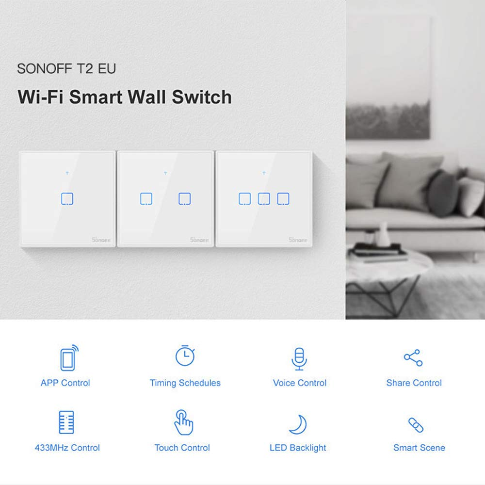 Interruptor Inteligente WiFi con Control de Voz//App//T/áctil SONOFF 3CH Interruptor T/áctil de Pared