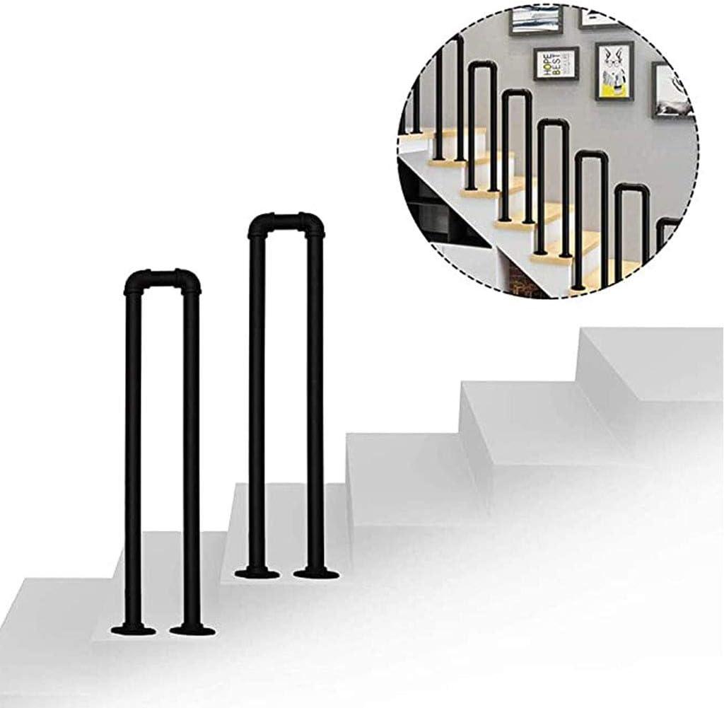 Barandilla en forma de U, barandilla de escalera de tubo galvanizado de hierro forjado negro, para barandilla de escalera interior y exterior, escalón para villa Barra de soporte de seguridad para p