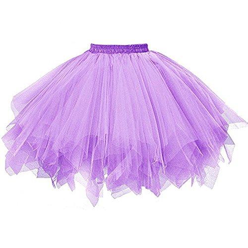 ZOMUSA Hot Sale Womens Pleated Gauze Costume Adult Party Tulle Short Skirt Fluffy Petticoat Tutu Dance Dress (One Size, Purple)