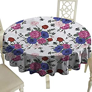 "longbuyer Anemone Flower Dinning Tabletop DecorBouquets of Roses Anemones Eustoma Colorful Corsage Bedding Plants Design Diameter 36"",Suitable for Kitchen, dustproof Desktop Decoration 113"