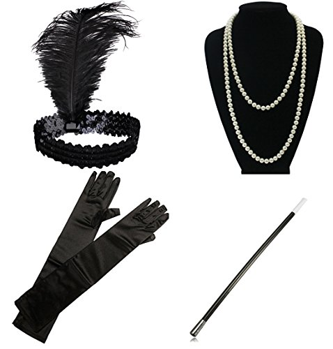 1920s Gatsby Flapper Costume Accessories Feather Headband Earrings Pearl Necklace Gloves Cigarette Holder for Women - Flapper Dress Outfit